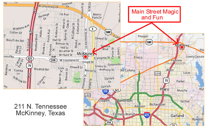 Main Steet Magic And Fun Directions To Our Store McKinney Texas - Mckinney texas us map
